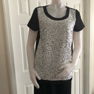 Ann Taylor White Sequined Top Medium